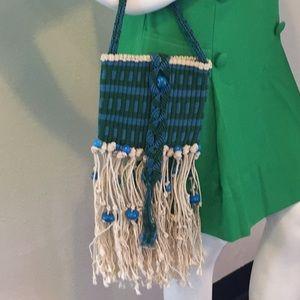 Vintage Blue Green Beaded Macramé Bag